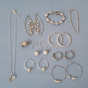 Silver jewelry set of 10 pieces